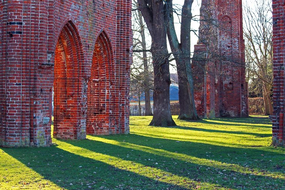 Ruins Of Eldena Abbey, Evening Sun, Shadow Play, Ruin
