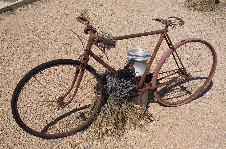 Bike, Vintage, Rust, Lavender, Provence, Flowers, Ruin