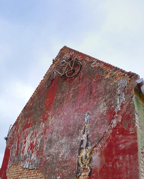 Házfal, Old Bike, Cozy, Creative Decor, Ruined