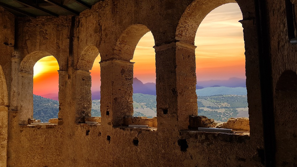Ruins, Arcs, Sunset, Dilapidated, Fortress