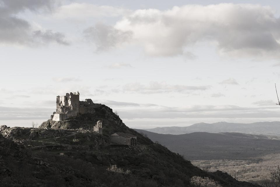 Castle, Winter, Spain, Extremadura, Ruins, Hill, Nature
