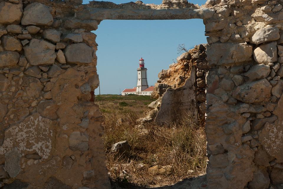 Portugal, Cape Espichel, Lighthouse, Ruins