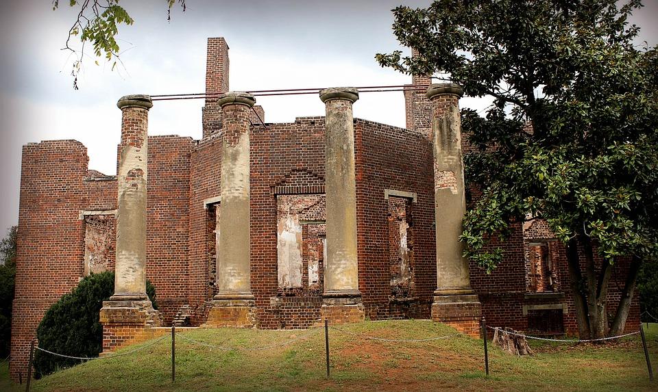 Ruins, Fire Damaged, Plantation, Mansion, Virginia