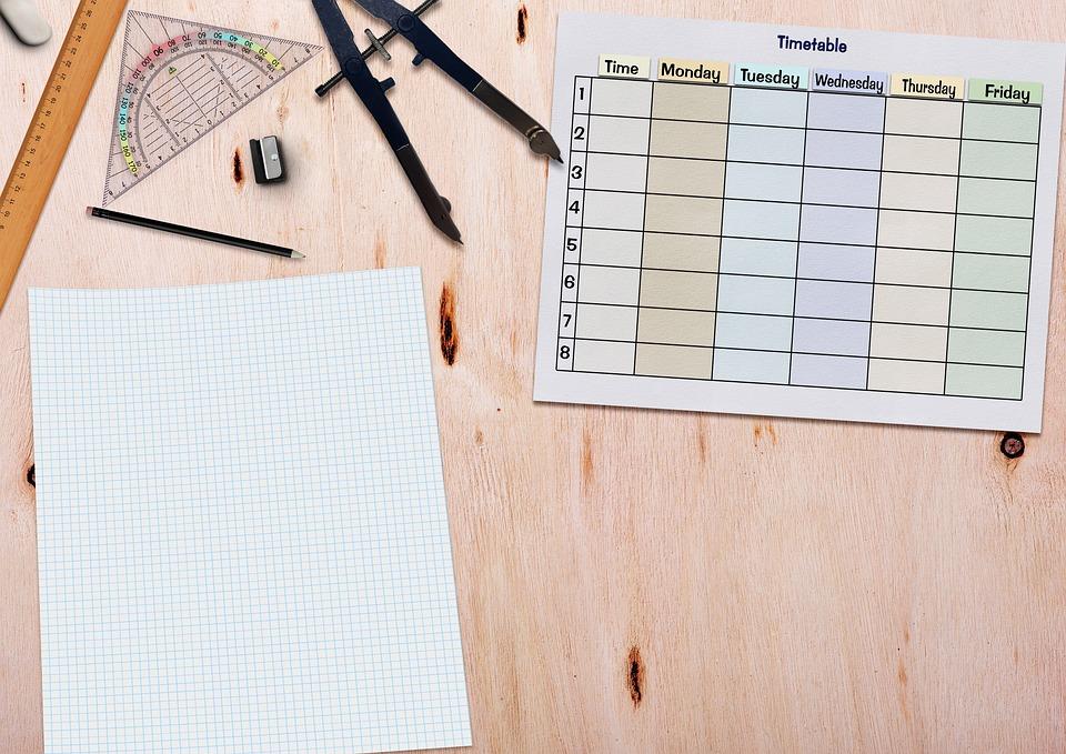 Timetable, Paper, Ruler, Geodreieck, Zirkel, Pencil