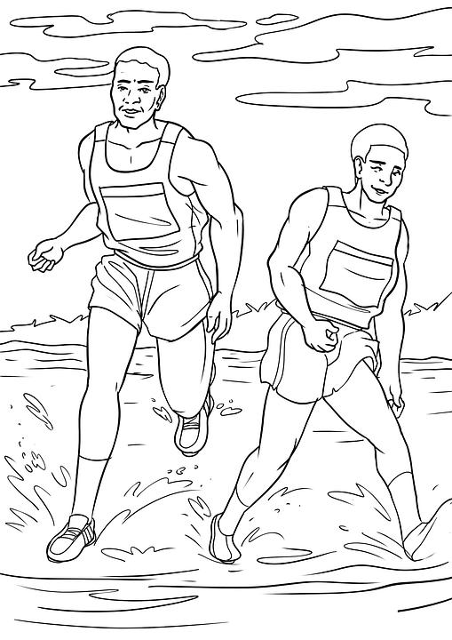 Drawing, Men, Run, Jogging, Jog, Sport, Coloring Pages