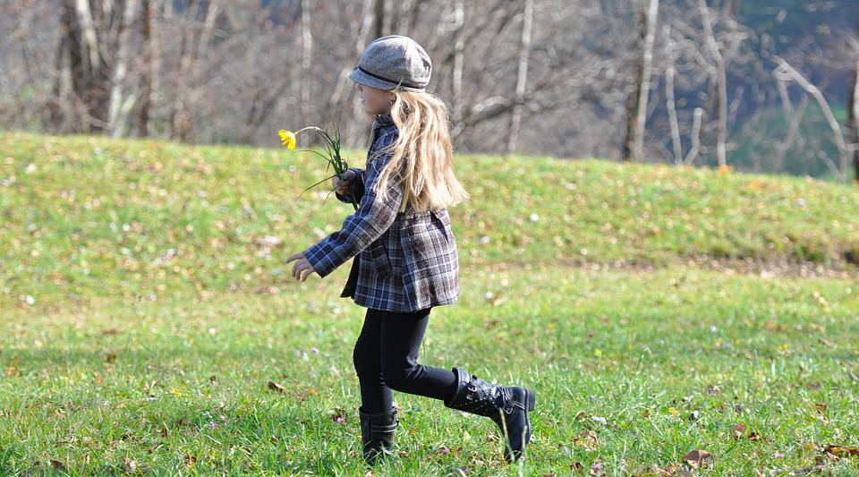 Child, Girl, Long Hair, Blond, Run, Meadow