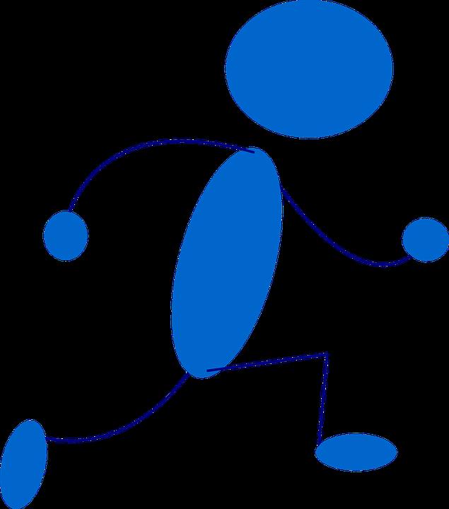 Stickman, Stick Figure, Running, Sprint, Blue, Run
