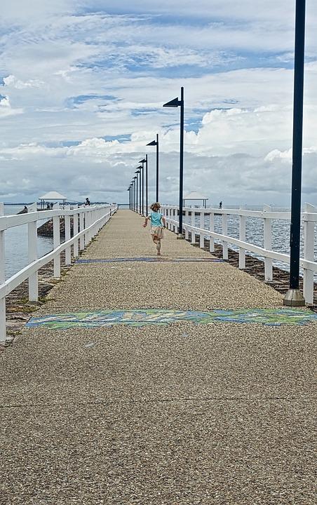 Girl, Running, Pier, Perspective, Active, Runner