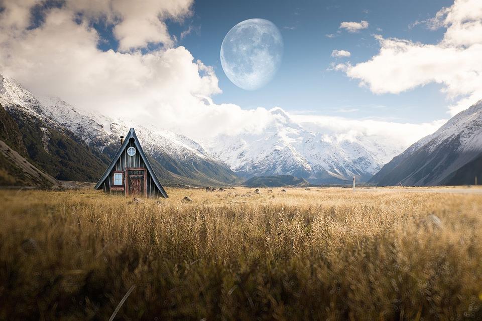 House, Mountains, Moon, Alps, Fields, Farm, Rural