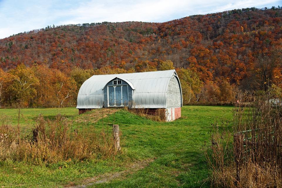 Fall, Autumn, Hills, Mountains, Barn, Farm, Rural