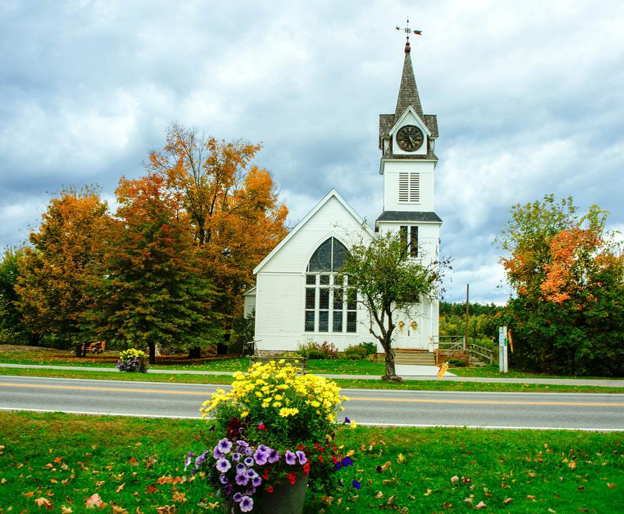 Foliage, Rural Church, Flowers, Vermont, Architecture