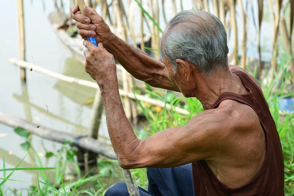 Old Man, Fishing, Rural, Muscle