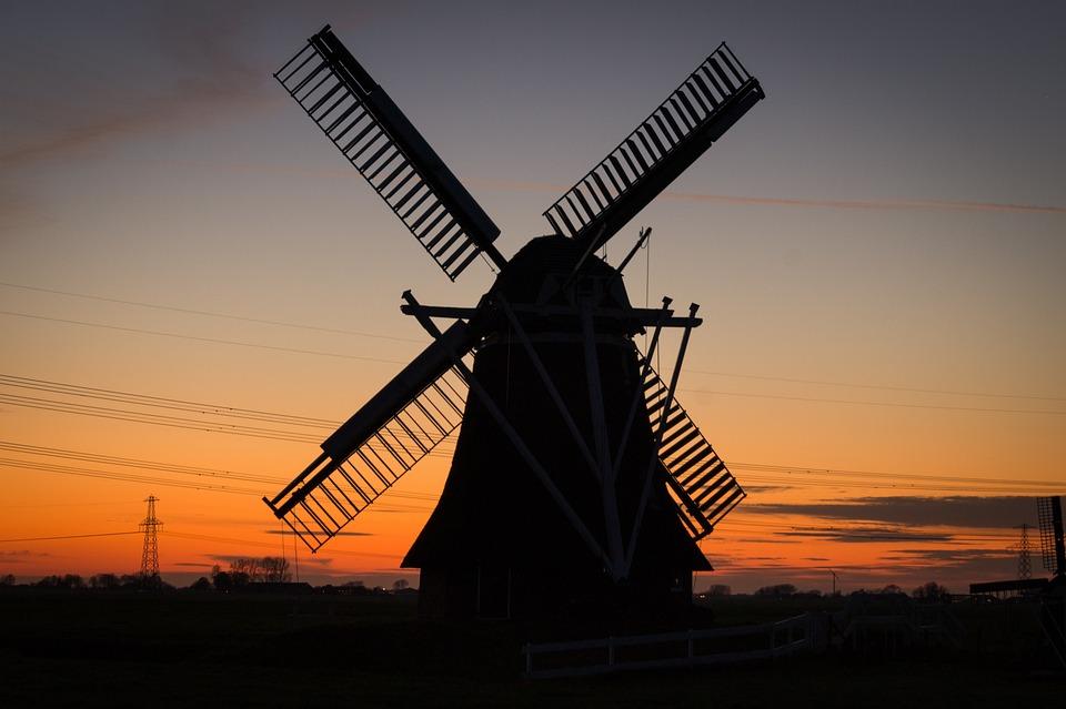 Windmill, Rural, Twilight, Netherlands, Dutch, Holland