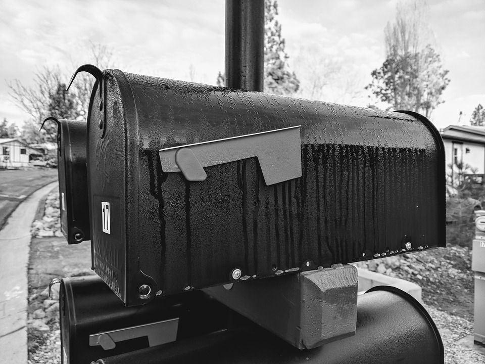 Mailbox, Black And White, Rural