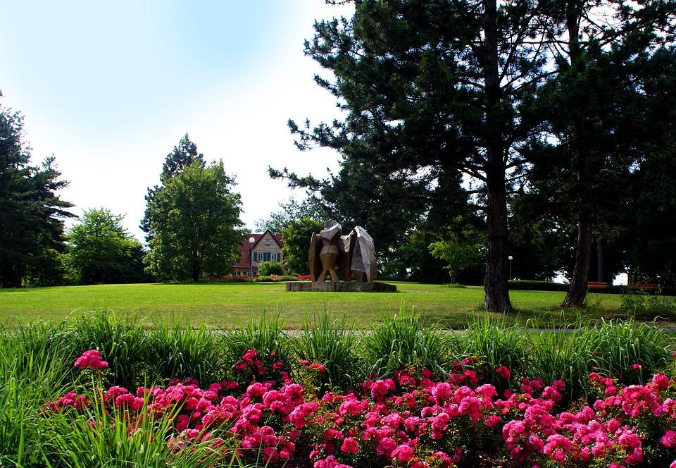 Park, Flowers, Artwork, Trees, Villa, Rush, Spring