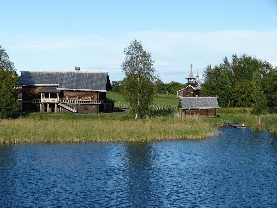 Farm, Russia, Farmhouse, Wood, Bar, Building