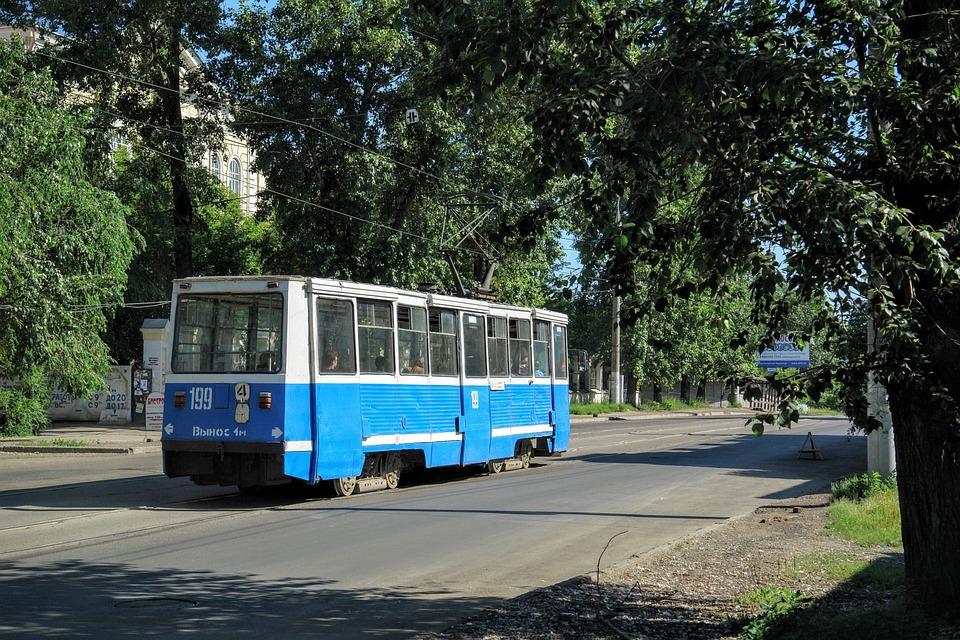 Tram, Rail Traffic, Gleise, Russia, Novosibirsk, Public