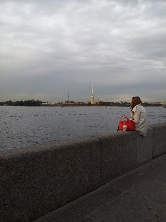 St Petersburg Russia, Russia, Quay, Girl, Loneliness