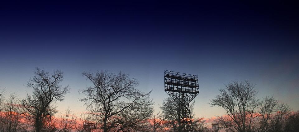 Russia, Saratov, Winter, Panorama, Stadium, Tower, Sky