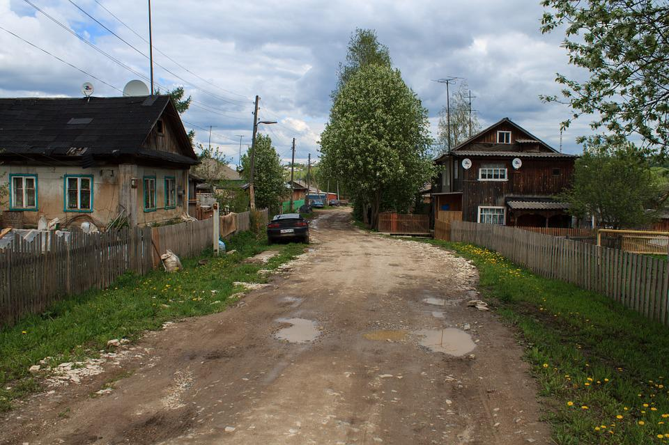 Russia, A Town, Village, Countryside, Road, House