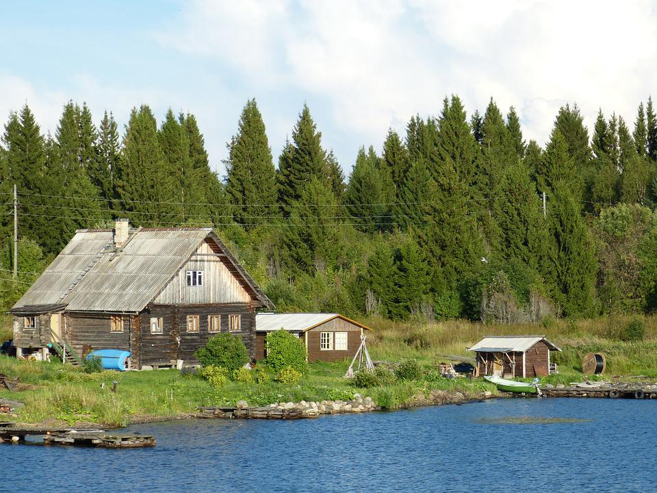 Russia, River, Home, Wood, Bank, Hut, Forest