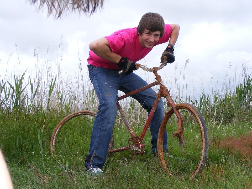 Bike, Rust, Fun, Scrap, Boy, Teenager