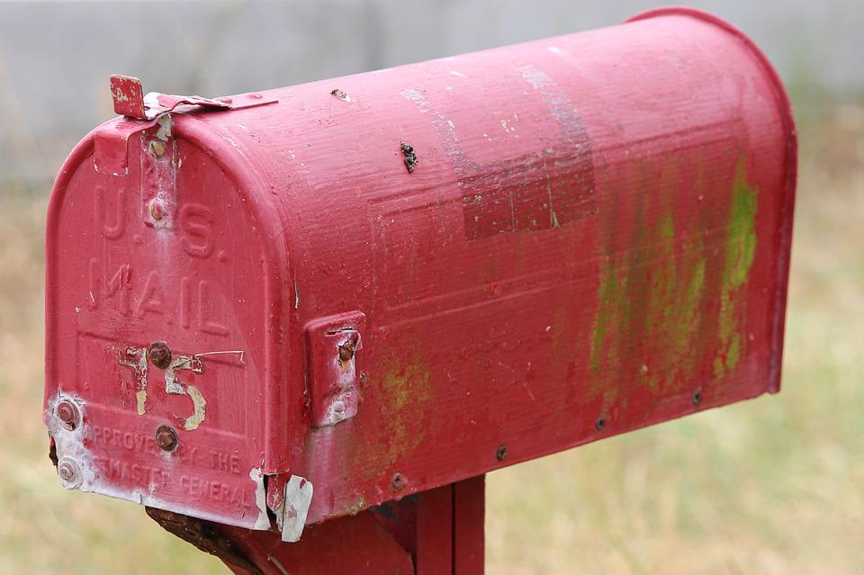 Postbox, Mailbox, Metal, American, Red, Rusty, Rust