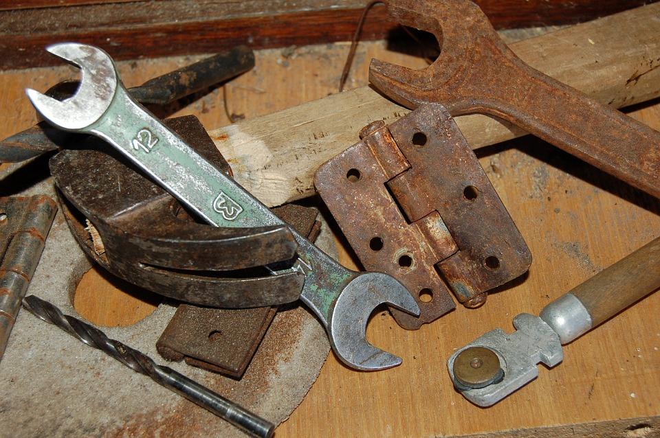 Metal, Keys, Tool, Old, Garage, Table, Rust