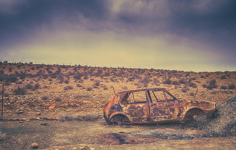 Rust, Desert, Car, Rusted, Old, Abandoned, Auto, Scrap
