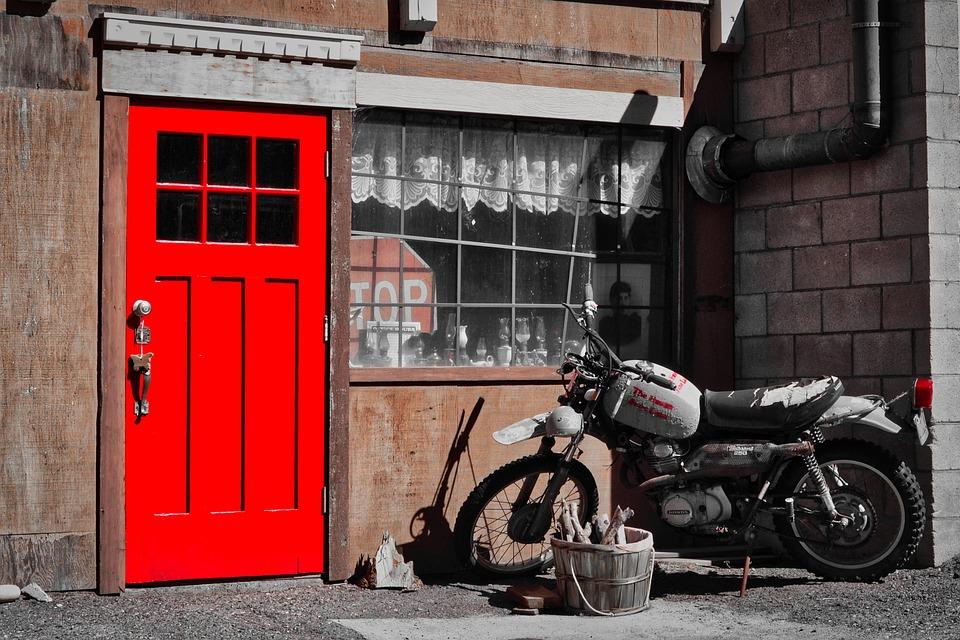 Motorcycle, Scrap, Red Door, Oldtimer, Vehicle, Rusted
