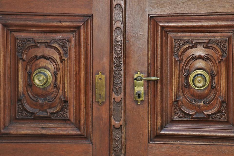 Door Handle, Entrance, Carved, Before, Rustic, Frame
