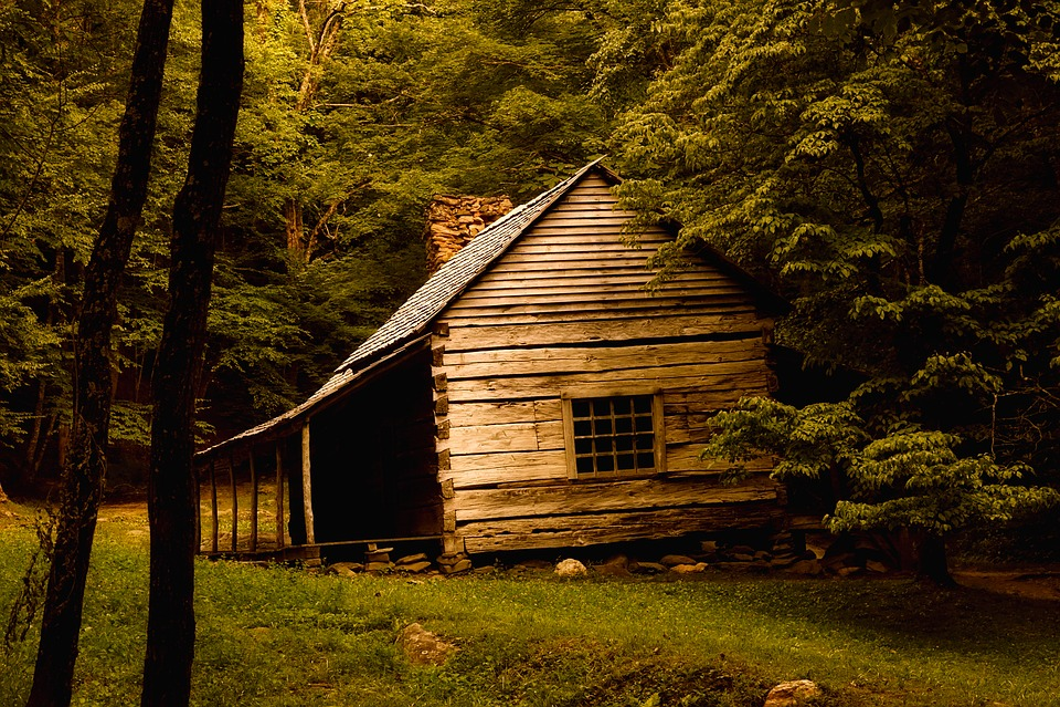 Log Cabin, Landscape, Old, Landmark, Historic, Rustic