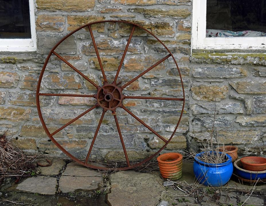 Wagon Wheel, Rusting, Wall, Stone, Rust, Wheel, Old