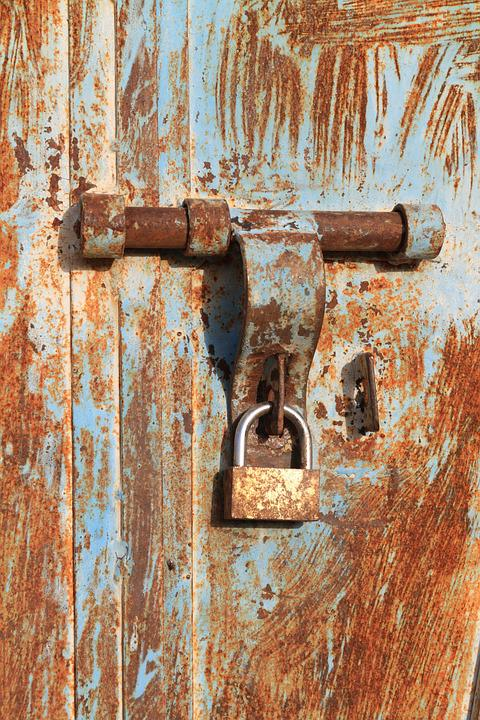 Steel, Door, Rusty, Locked, Metal, Gate, Lock, Closed