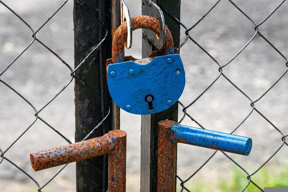 Padlock, Gate, Rust, Rusty, Fence, Rusty Lock