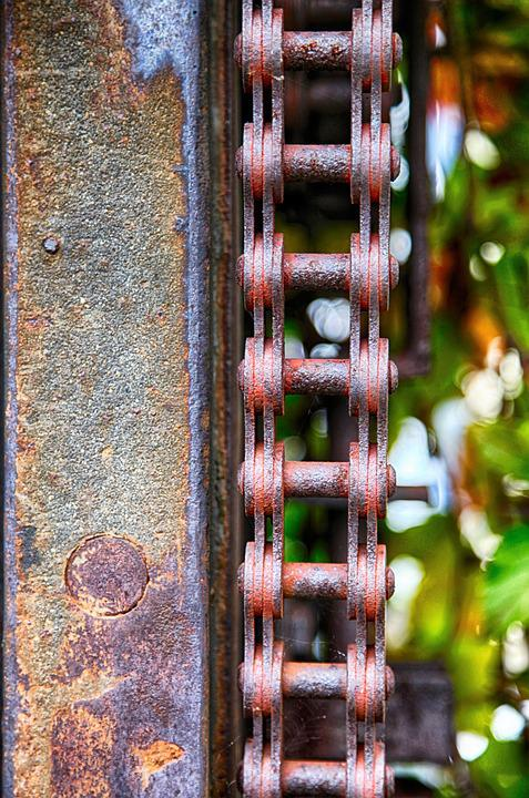 Chain, Drive, Gate, Sawmill, Rust, Old, Rusted, Rusty