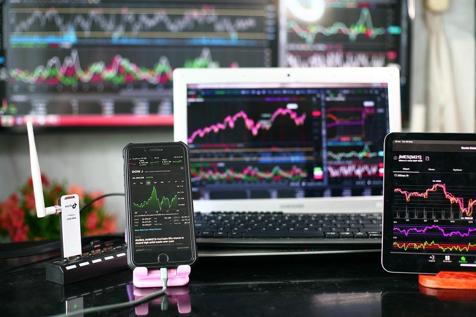Cellphone, Stock, Market, Chart, Dow, S P 500, Nasdaq