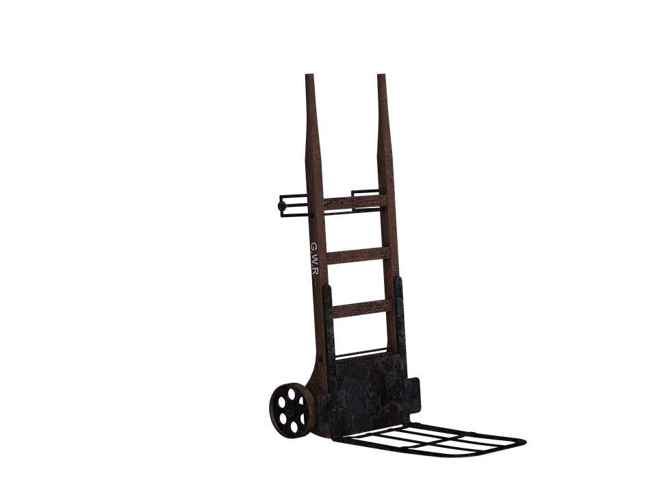 Cart, Sack Truck, Transport, Wooden Barrow, Digital Art