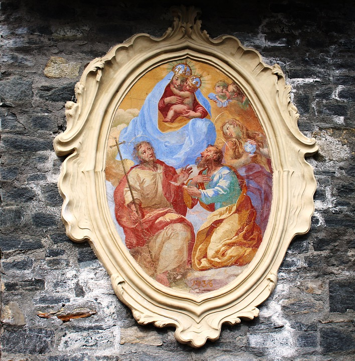 Icon 1736, Sacred Art, Outline, Decorated, Masonry