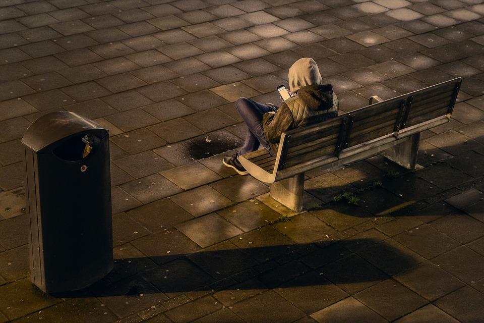 People, Man, Alone, Sad, Bench, Chair, Hoodie, Jacket
