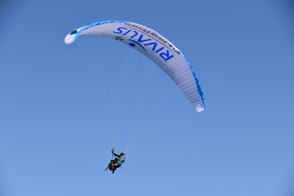 Paragliding, Paraglider, Sail Blue White, Wing, Fly