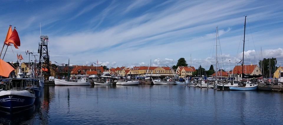 Port, Water, Blue, Clouds, Both, Fish, Sail, Copenhagen