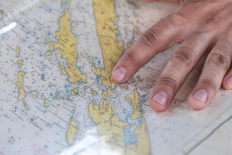 Map, Sail, Sailor, Hand, Finger, Travel, Sailing