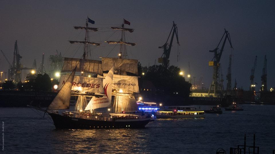 Hamburg, Night, Hafengeburtstag, Sailing Vessel, Sail