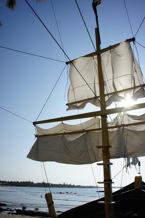 Sail, Canvas, Sunlight, Back Light, Sky, Blue, Ship