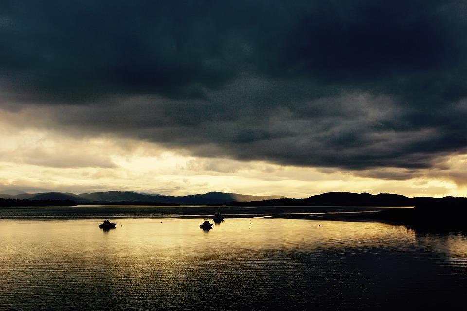 Lake, Sail, Boat, Vessel, Transport, Sunset, Horizon