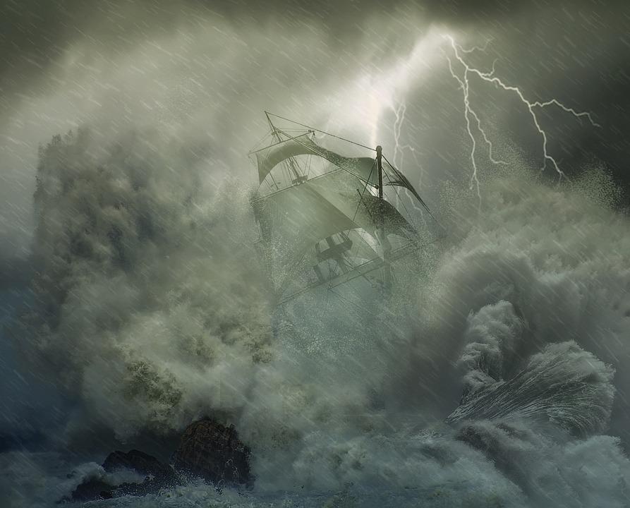 Photoshop, Photo Montage, Fantasy, Sailboat, Storm, Sea