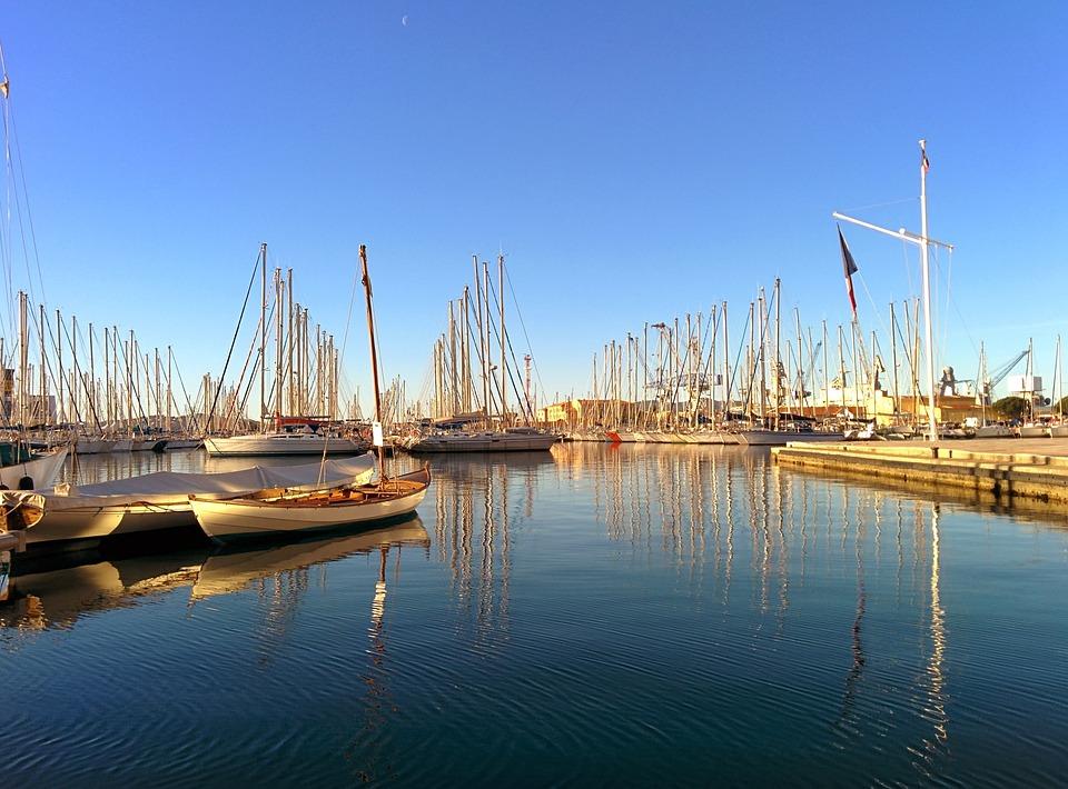 Harbor, Quiet, Sunlight, Sailboat, Reflection, Sea