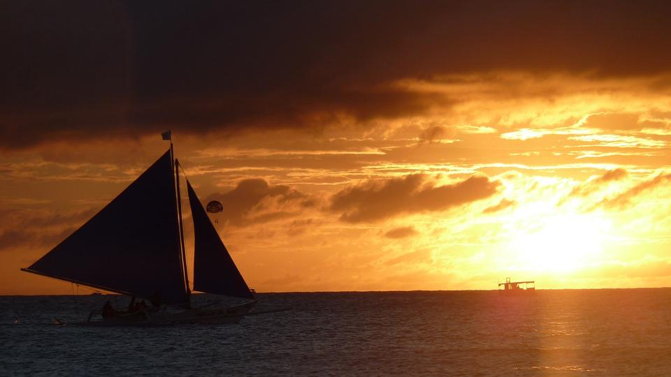 Sunset, Sea Island, Sailboat