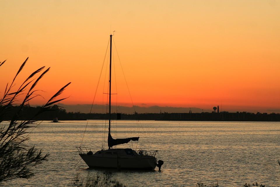 Sunset, Sailboat, Sailing, Evening Sail, Lake Sunset